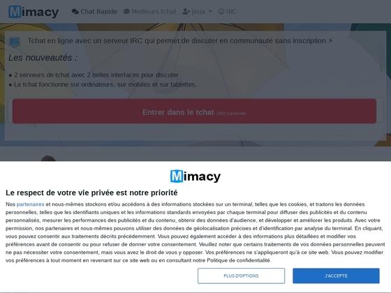 Mimacy propose un service de chat en ligne avec webcam de bonne qualité et rapide.
