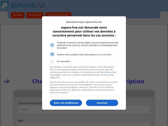 Espace.live est un service de tchat ado avec cam et appels audio avec ou sans inscription.