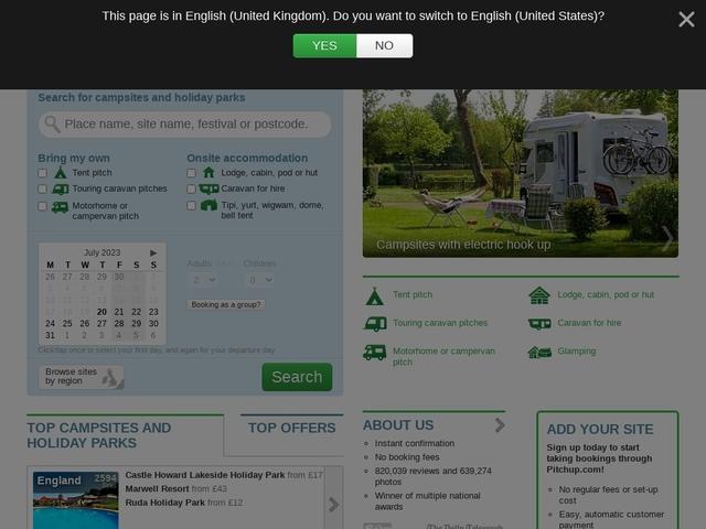 Pitchup.com : réservation en ligne d'hébergements de plein air