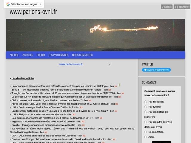 parlons ovni - site d'information français sur le phénomène ovni