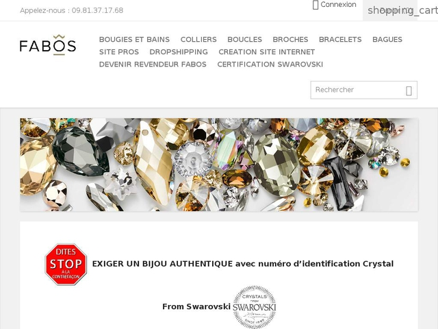 grossiste bijoux fabos avec cristal swarovski