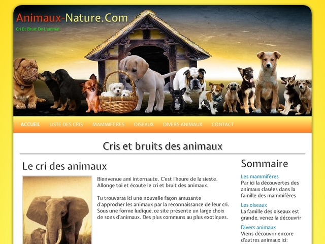 Cris et bruits des animaux