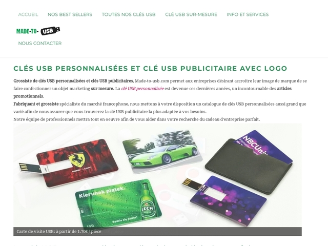 Grossiste Made-to-usb: clé USB publicitaire
