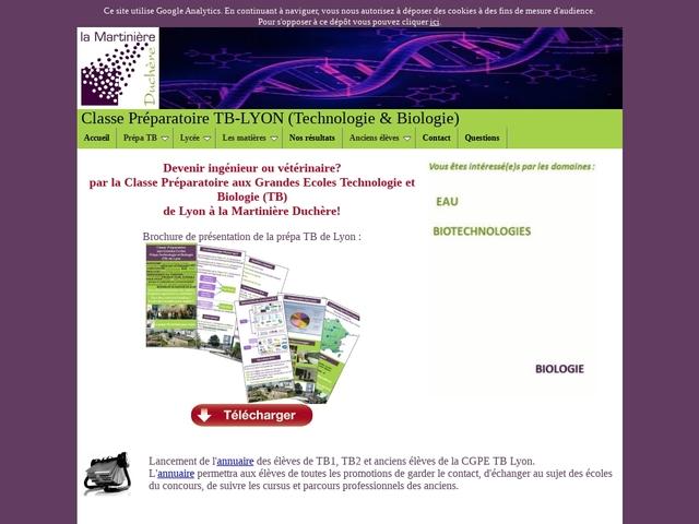 Classe Préparatoire TB-LYON (Technologie & Biologie)