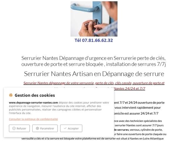 Serrurier Nantes Dépannage serrurerie ouverture de porte 7/7