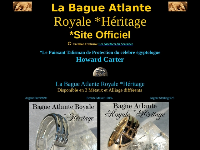 BAGUE ATLANTE Royale **SITE OFFICIEL - Talisman d'Howard Carter