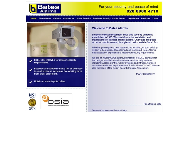 Bates Alarms - electronic security company Lonon UK
