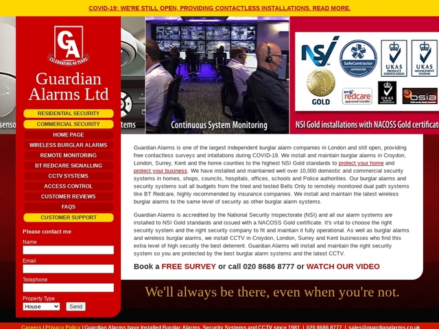 Guardian Alarms - Burglar Alarms in Croydon, London, Surrey and Kent
