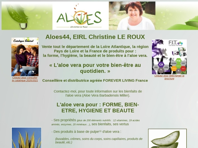 Christine LE ROUX, vente de produits pour la forme, l'hygiène, la beauté et le bien être à base d'Aloe Vera.