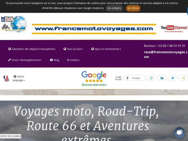 France moto voyages,  voyages en France, Europe, Inde, Etats-unis.....