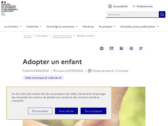Le portail internet gouvernemental sur l'adoption