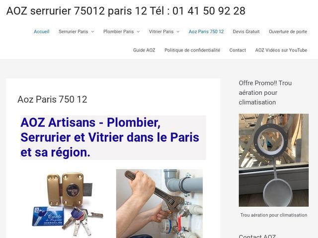 Plombier à Paris 12 : AOZ Artisans