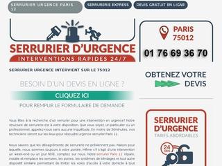 Service d'urgence serrurier Paris 12