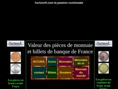Horizon.fr - Valeur des pièces & billets de banque francs et euros