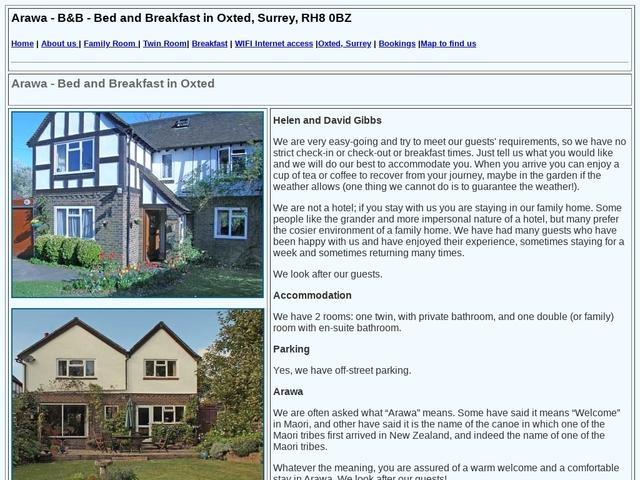 Arawa B&B - Oxted - Surrey - England.