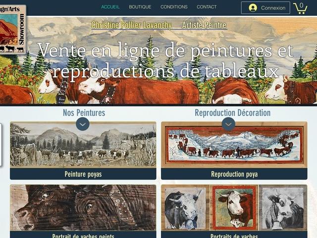 Vente en ligne tableaux déco ambiance champetre vaches et montagne.