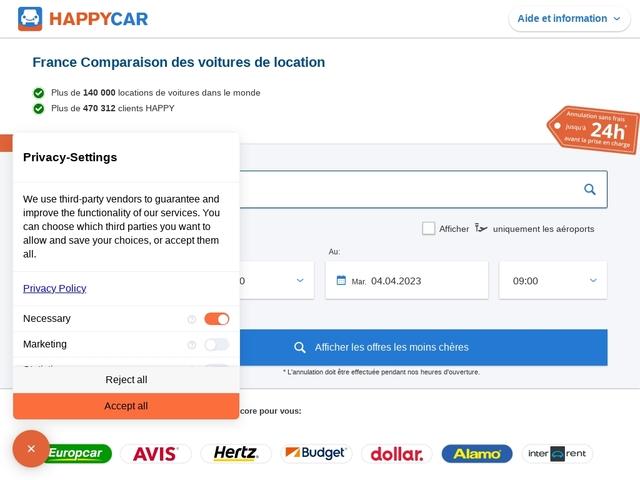 Happycar : comparateur d'offres de location de voitures