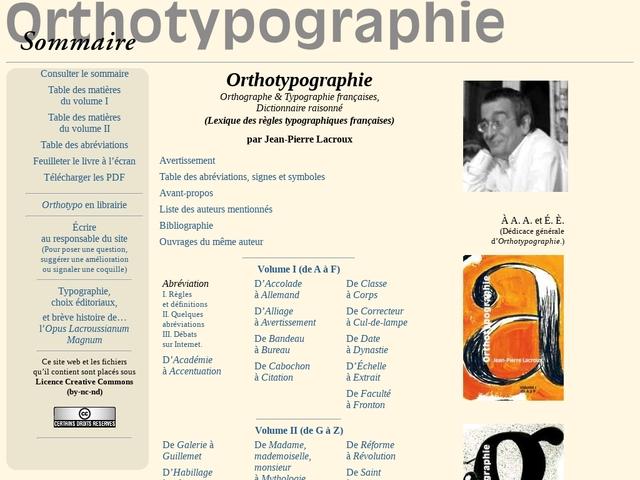 Orthotypographie, dictionnaire raisonné de Jean-Pierre Lacroux