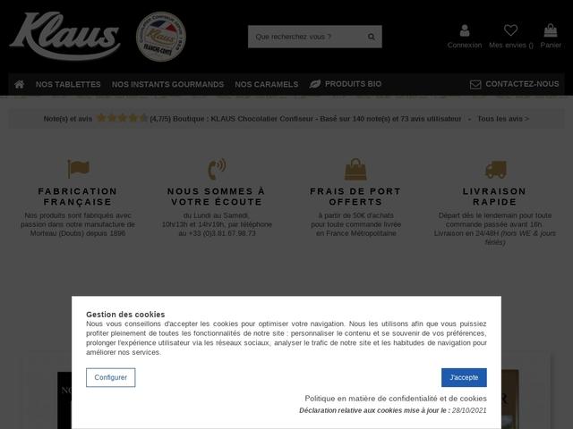 Chocolats et confiseries Klaus, gourmand depuis 1856