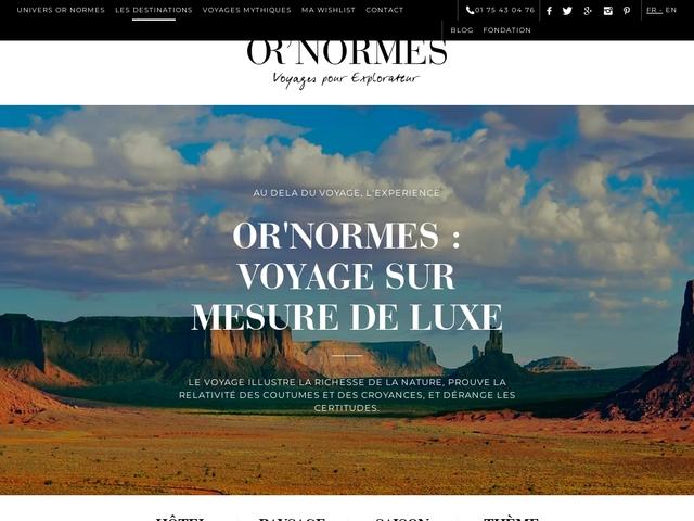 Voyage sur mesure ; voyage de luxe avec Or'Normes