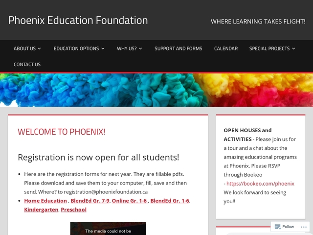 Phoenix Education Foundation; WHERE HOMESCHOOLING TAKES FLIGHT!