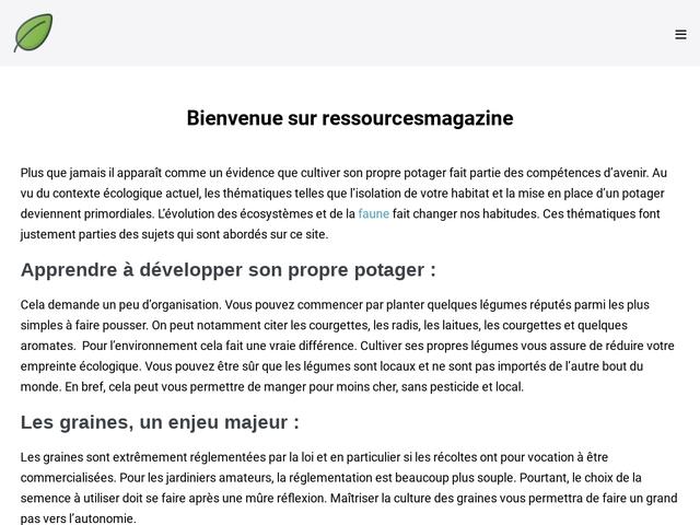 Ressources Magazine - Le Magazine Azuréen du Développement Durable
