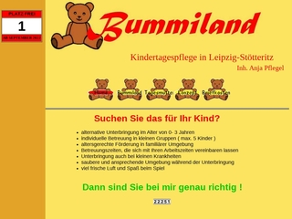 Vorschaubild der Webseite Kindertagespflege Bummiland