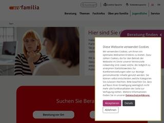 Vorschaubild der Webseite pro familia Ludwigsburg
