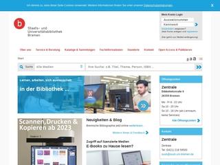 Vorschaubild der Webseite Staats- und Universitätsbibliothek (SuUB) Bremen