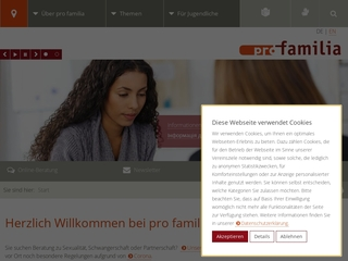 Vorschaubild der Webseite pro familia Kirchheim/Teck