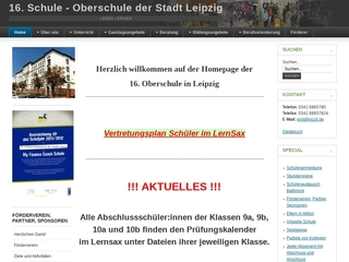 Vorschaubild der Webseite 16. Oberschule - Oberschule der Stadt Leipzig