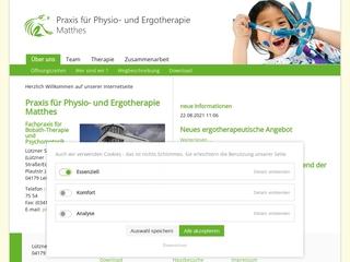 Vorschaubild der Webseite von Praxis für Physio- und Ergotherapie Roßbach und Matthes