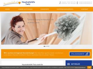Vorschaubild der Webseite Haushaltshilfe Tietz