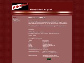 Vorschaubild der Webseite von PRO-line Fahrdienst und Mietwagenunternehmen