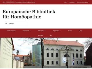 Vorschaubild der Webseite Europäische Bibliothek für Homöopathie