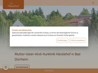 Vorschaubild der Webseite von Mutter-Vater-Kind Kurhaus Hänslehof