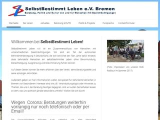 Vorschaubild der Webseite von SelbstBestimmt Leben e.V. Bremen Beratungsstelle und Treff für Behinderte und ihre Angehörigen