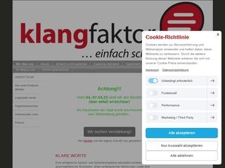 Vorschaubild der Webseite von KLANGFAKTOR - Praxis für Logopädie und Coaching