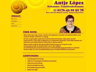 Vorschaubild der Webseite von Hebamme Antje Lopez